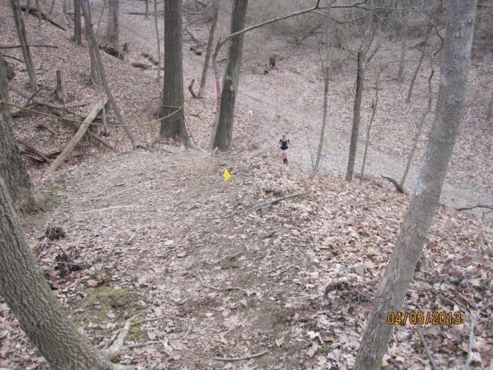 A fellow runner at the bottom of one of the hills at the Potawatomi Trail Runs.