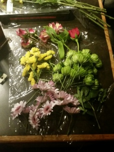 Then I cut the stems down to about 3-4 inches for each flower.
