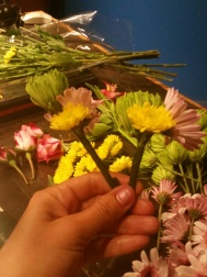 I next made little bouquets of 2-3 flowers each and wrapped with floral tape.