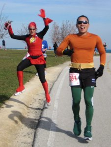 A best friend and I ran our first 50k (31 miles) back in 2010 as the Flash and Aquaman.