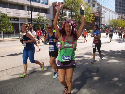 On this day, I dressed up in lots of colors for the charity marathon runners that I coached.