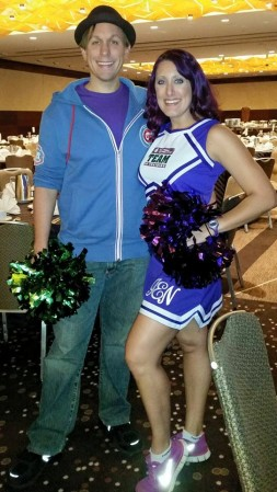 Woo Hoo! TNT Cheerleader at the pasta dinner...with the fiance.