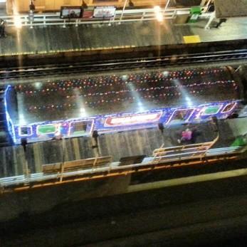 The Santa Train on the tracks at State & Lake