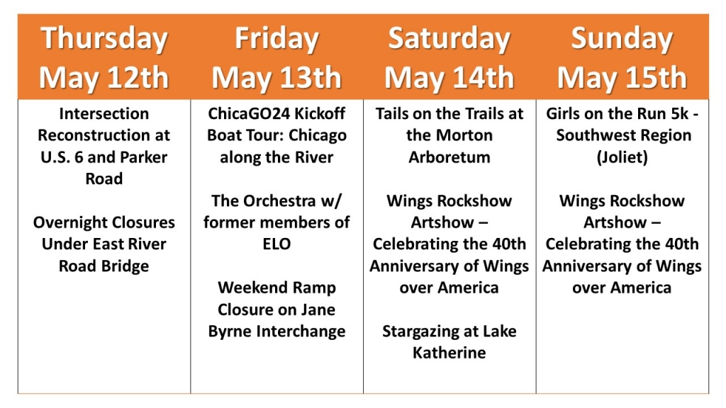May 12 thru 15 Weekend Ajenda events