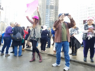 Lauren & Tony taking in the crowd at Wacker and Michigan.